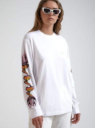 Flaming Butterfly - Retro Fit Long Sleeve Tee