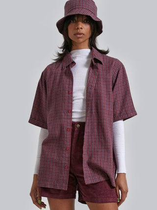 Highland - Unisex Hemp Check Short Sleeve Shirt