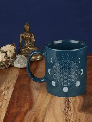 Moon Phase Flower of Life Mug