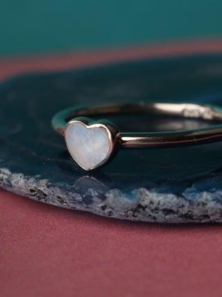 Moonstone Heart Sterling Silver Ring