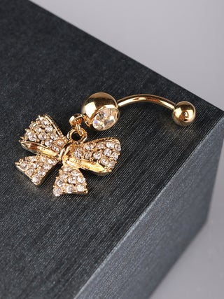 Navel- 1.6 Gold Plated Gem Bow