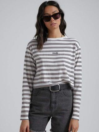 Niko - Stripe Cropped Long Sleeve Tee