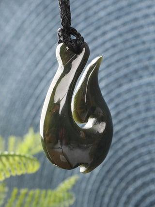 NZ MADE- Greenstone Hook Pendant