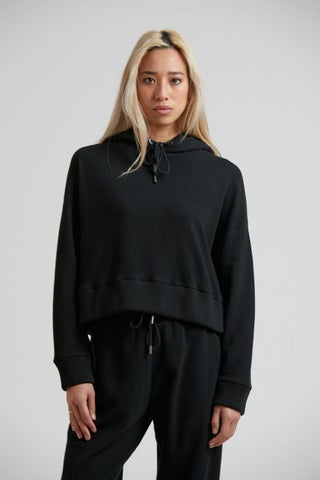 Odie - Waffle Cropped Pull On Hood
