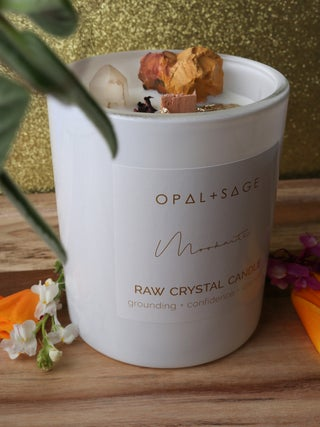Opal + Sage Raw Crystal Candle