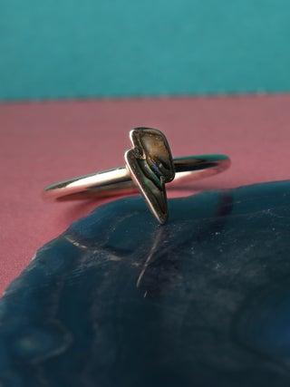Paua Bolt Sterling Silver Ring