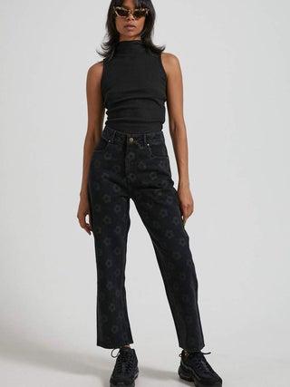 Shelby - Organic Denim Floral Wide Leg Jean