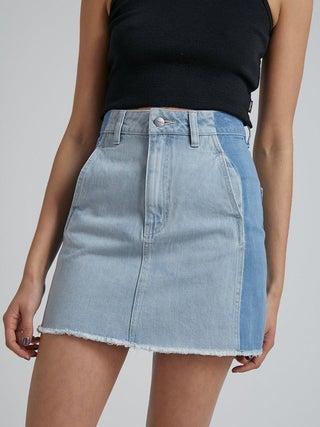 Stevie - Hemp Denim Panelled Skirt