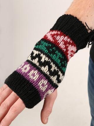 Stripey Friend Wool-Fleece Armwarmers