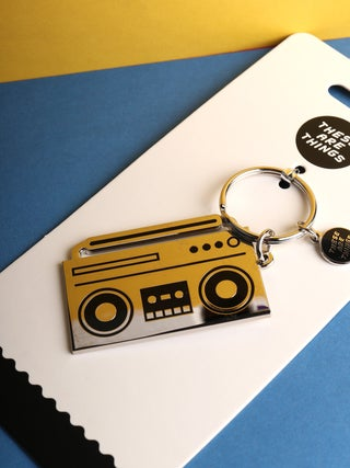 These Are Things Enamel Keychain- Boombox